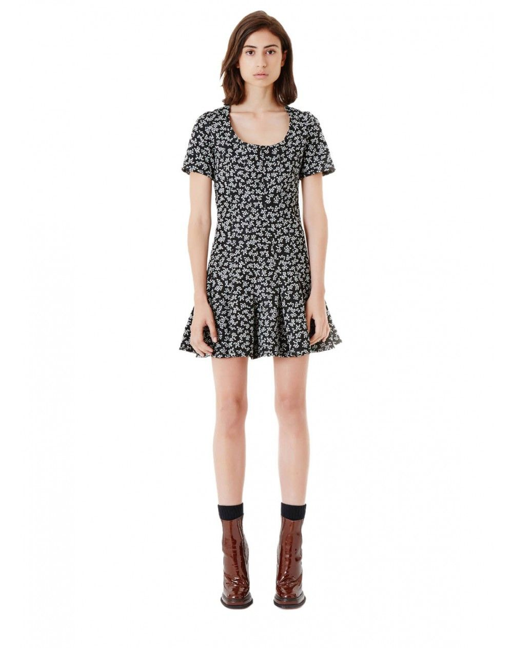 Short Skater Dress With Short Sleeves And Round Neckline Black And