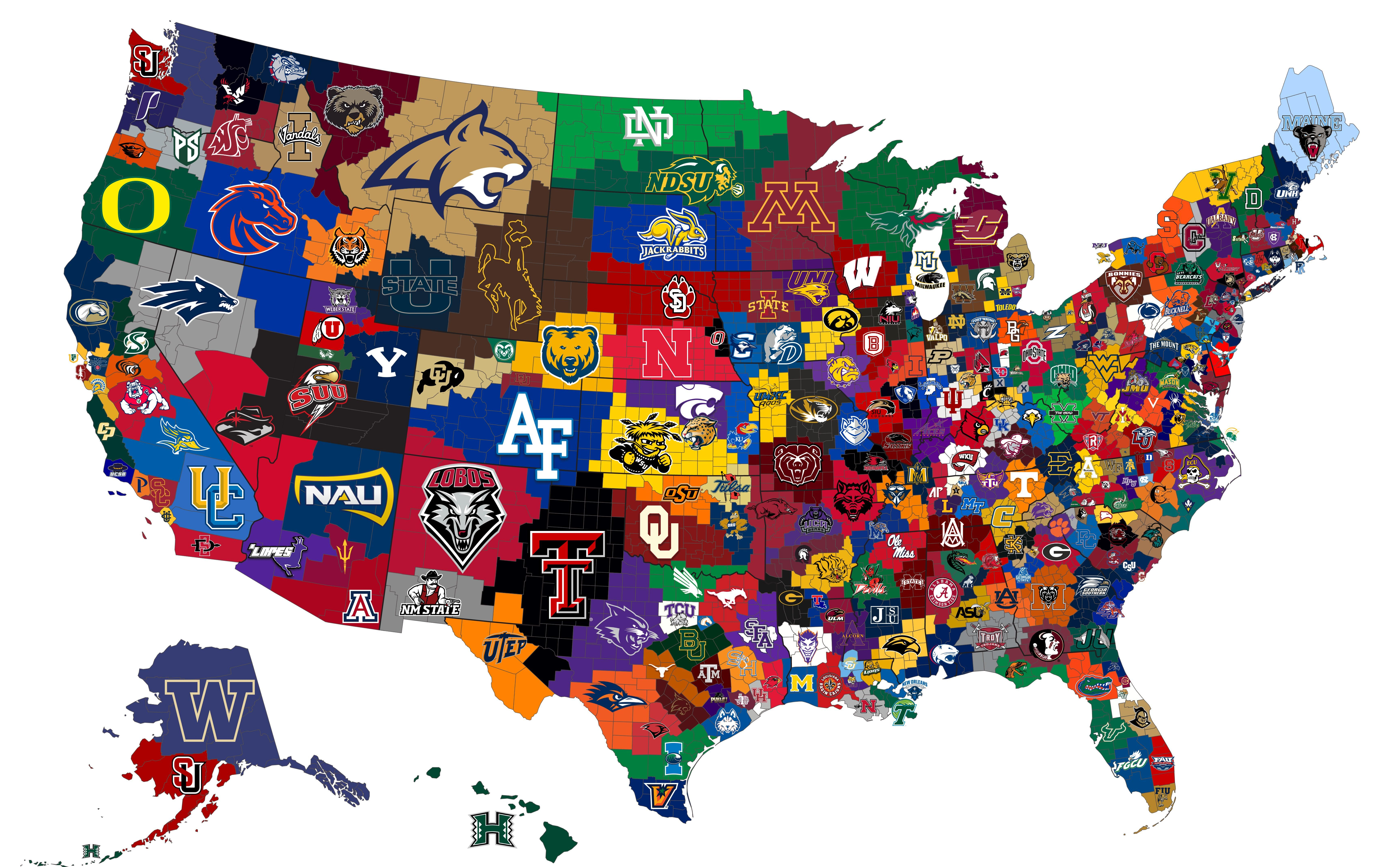 Closest Ncaa D1 Men S Basketball Program To Each U S County Basketball Program College Football Map College Football Teams
