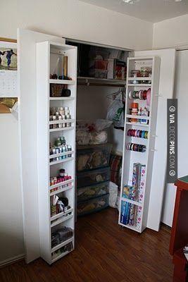Adding Closet Storage Remove Annoying Sliding Door Install Double Doors Bolt Cabinets To Inside Of Doors Bedroom Organization Closet Small Closet Door Ideas Small Closet Space