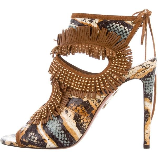 Pre-owned Aquazzura Python Sexy Thing Fringe Sandals (1,490 ILS) ❤ liked on