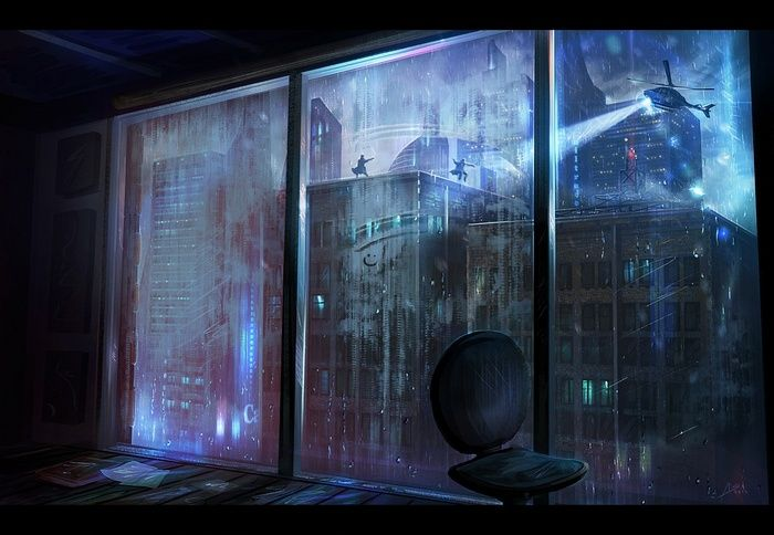 pursuit, city, rain, window, wallpaper Cyberpunk art