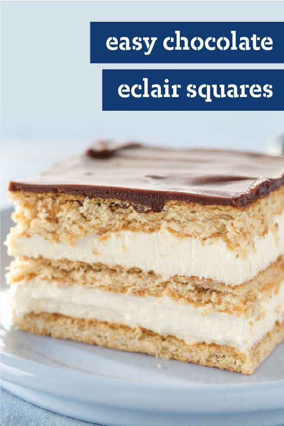 Easy Chocolate Eclair Squares – This is one super easy recipe. Layers of vanilla pudding, COOL WHIP and sweet graham crackers stack up to the most popular dish at the dessert table.