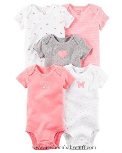 33375a51a Baby Girl Clothes William Carter Girls 5 Pack Short Sleeve Bodysuit ...