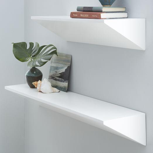 Floating Wedge Shelf White White Floating Shelves Floating Shelves Wooden Floating Shelves