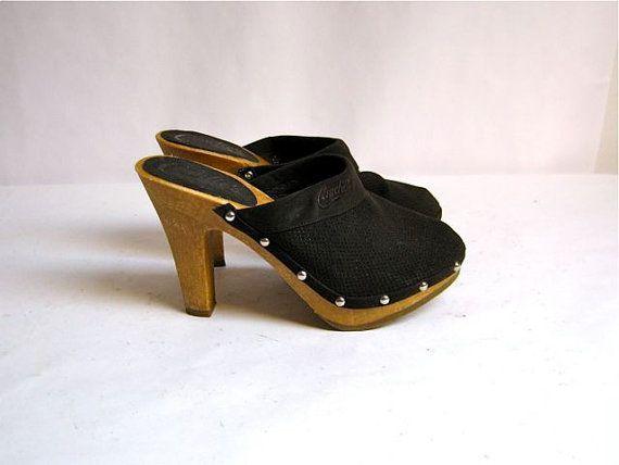 Vintage Candies Shoes Wooden Heels | Vintage Candies slip on high heel  studded clogs 6 - Vintage Candies Slip On High Heel Studded Clogs 6 Vintage Candy