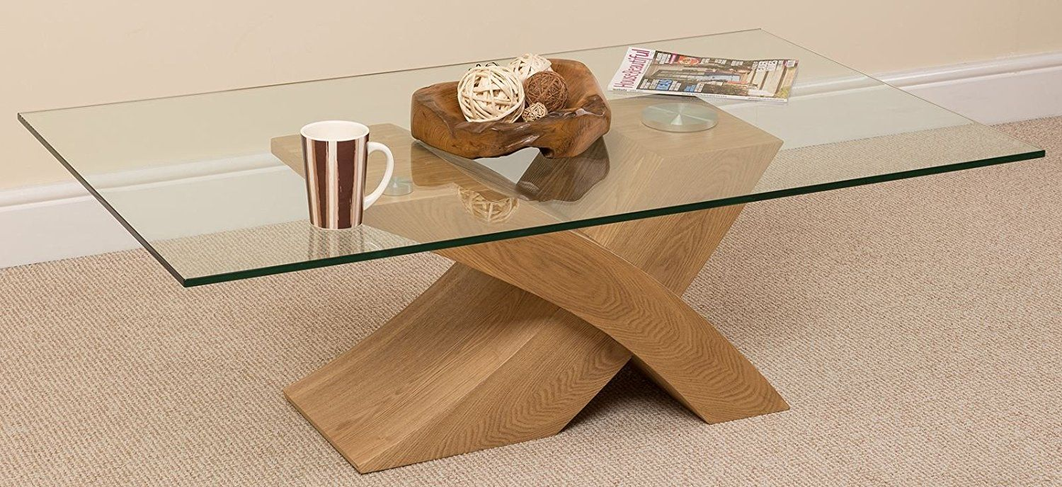 Milano X Glass Wood Coffee Table Oak 135 W x 80 D x 45 H cm