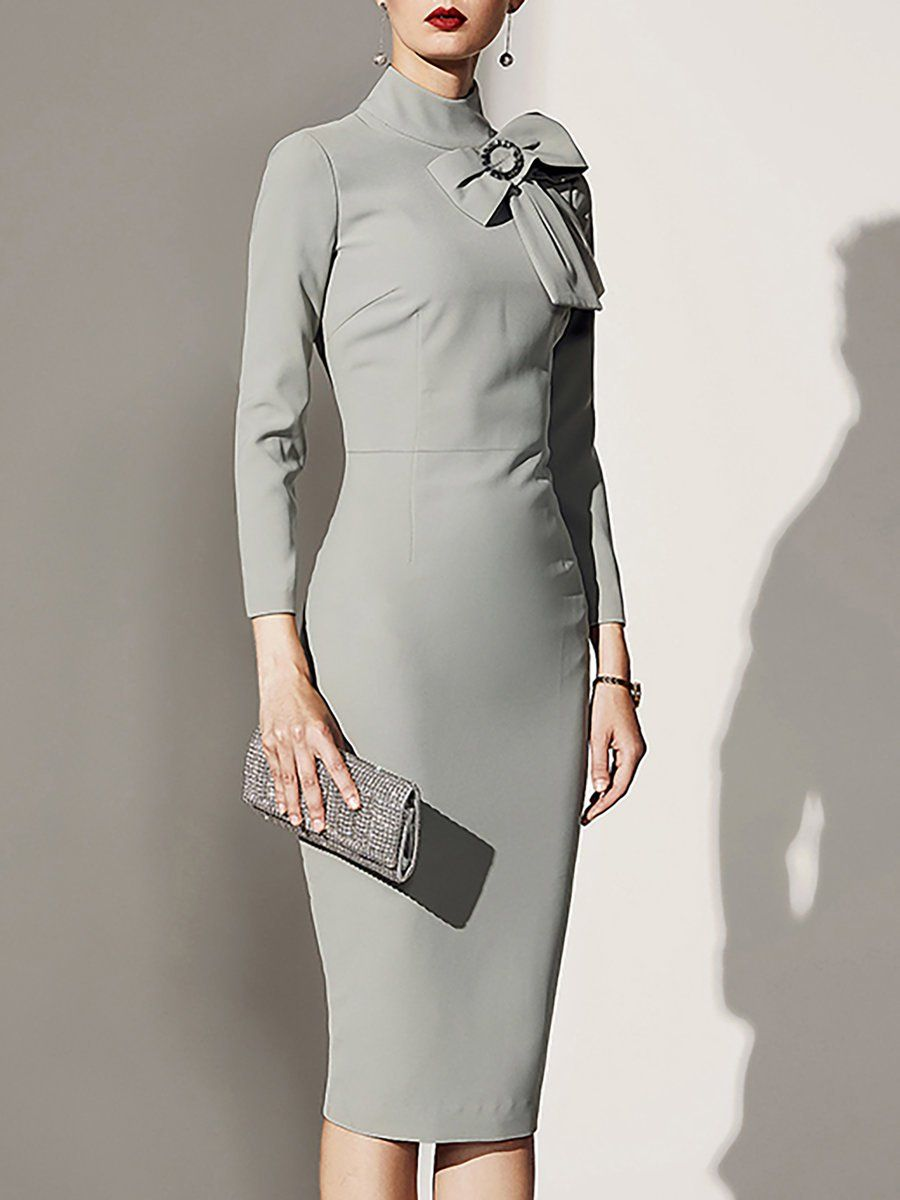 297c56705b0 Stylewe Cocktail Dresses Long Sleeve Party Dresses Cocktail Bodycon Stand  Collar Elegant Bow Dresses