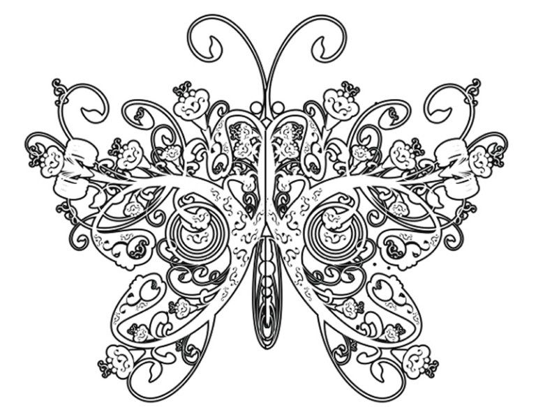 Complicated Butterfly Coloring Pages For Adults ...