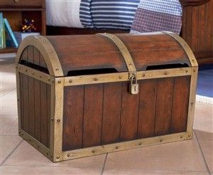 Wooden Shiver Me Timbers Treasure Chest Toy Box Pirate Room Pirate Bedroom Powell Furniture