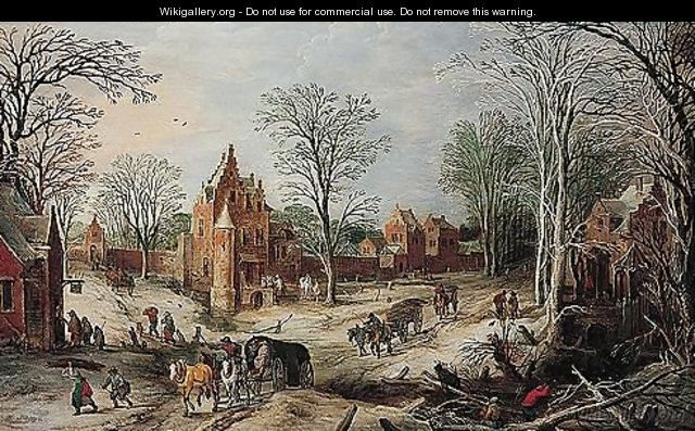 Joos de Momper - A winter landscape with a cart on a wooded road and a village beyond.