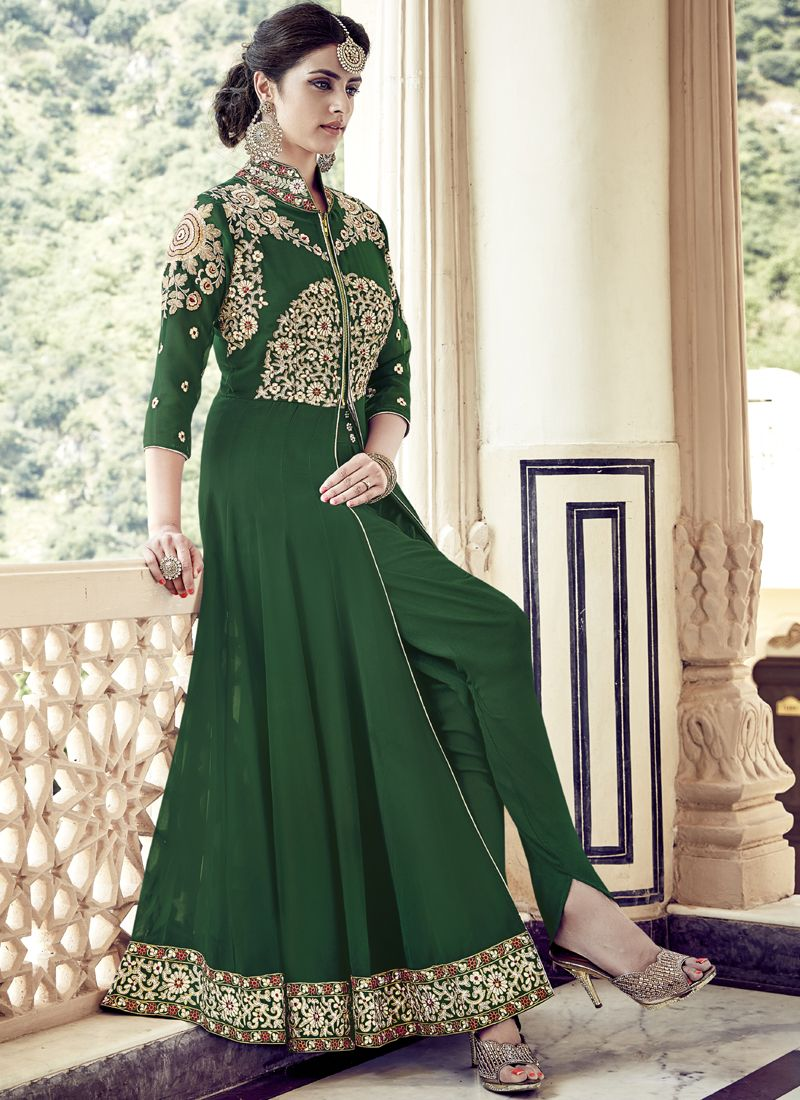4f61cd6e152 A Congenial Green Faux Georgette Anarkali Style Suit .This Beautiful Suit  Is Embellished With Zari Work