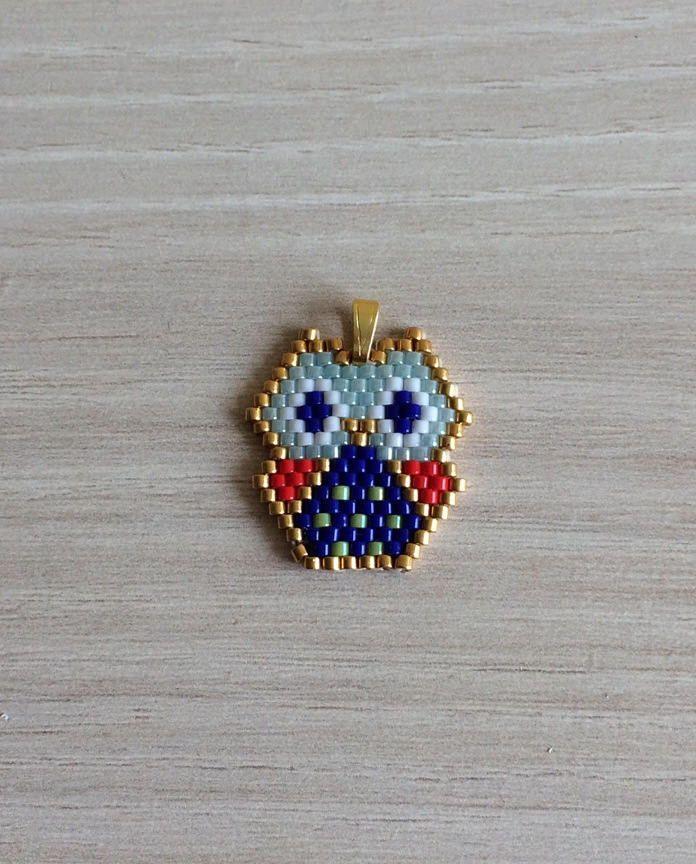 "Photo of Miyuki Delicas beads pendant ""OWL origami"""