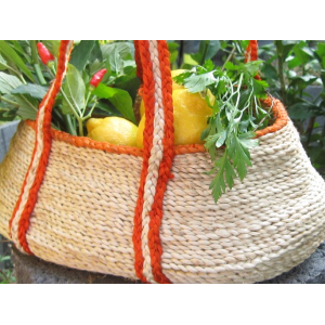Handmade jute gathering basket with strong handles and