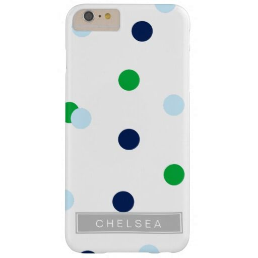 Navy Light Blue & Green Monogram Dot iPhone Case Barely There iPhone 6 Plus Case | coffeecatdesigns