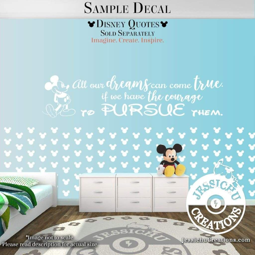 Mickey Mouse Ears Wall Confetti 1, 2 or 3 Disney Inspired Vinyl Decal for Home Decor - 33 heads - 3W each / 14 Geyser Blue