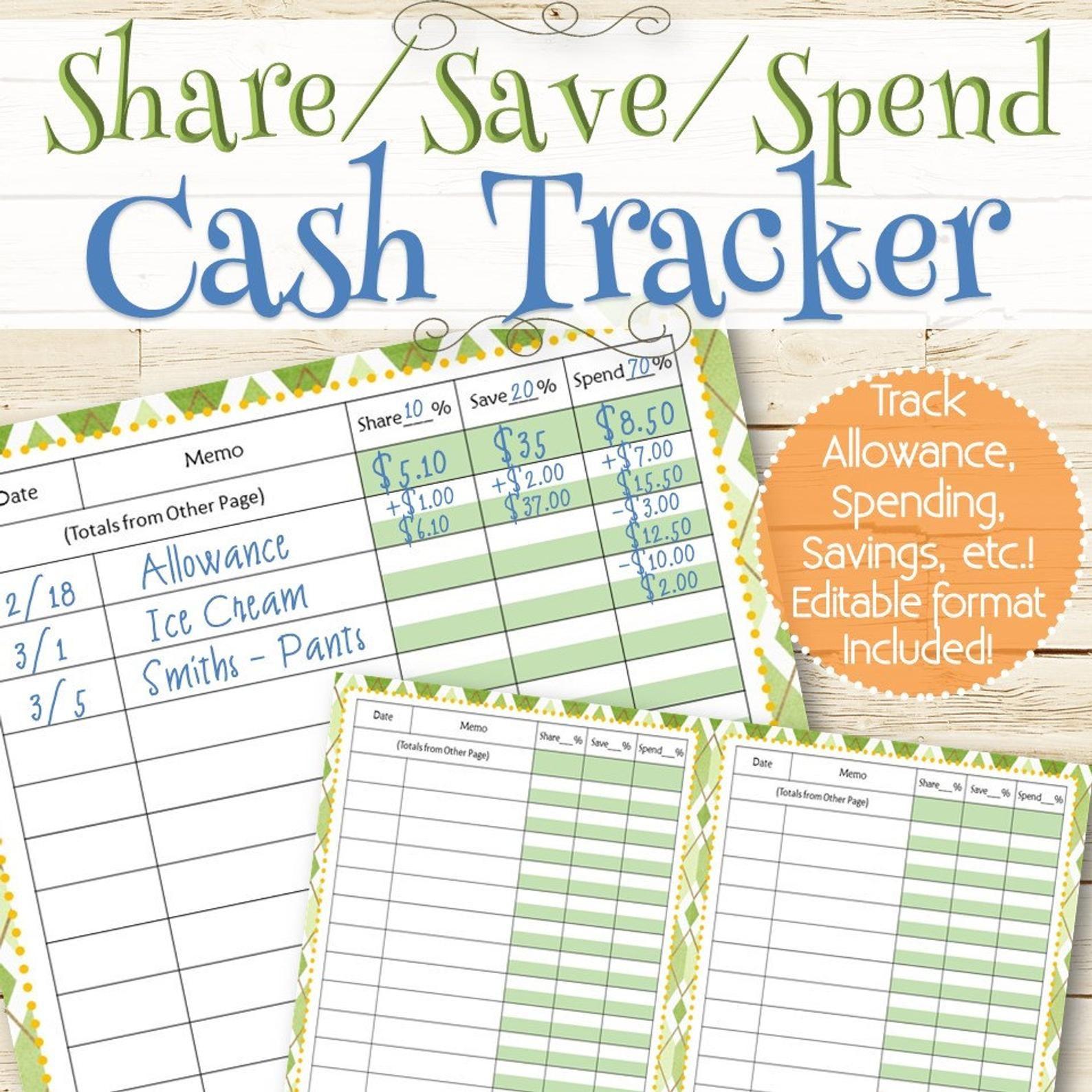 EDITABLE Allowance/Money Tracker INSTANT DOWNLOAD | Etsy ...