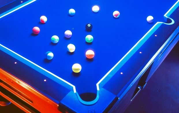 glow in the dark pool table and balls ideas for the house pool table room pool table cave pool. Black Bedroom Furniture Sets. Home Design Ideas