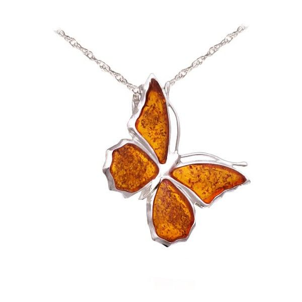Silver and baltic amber butterfly necklace for a special butterfly