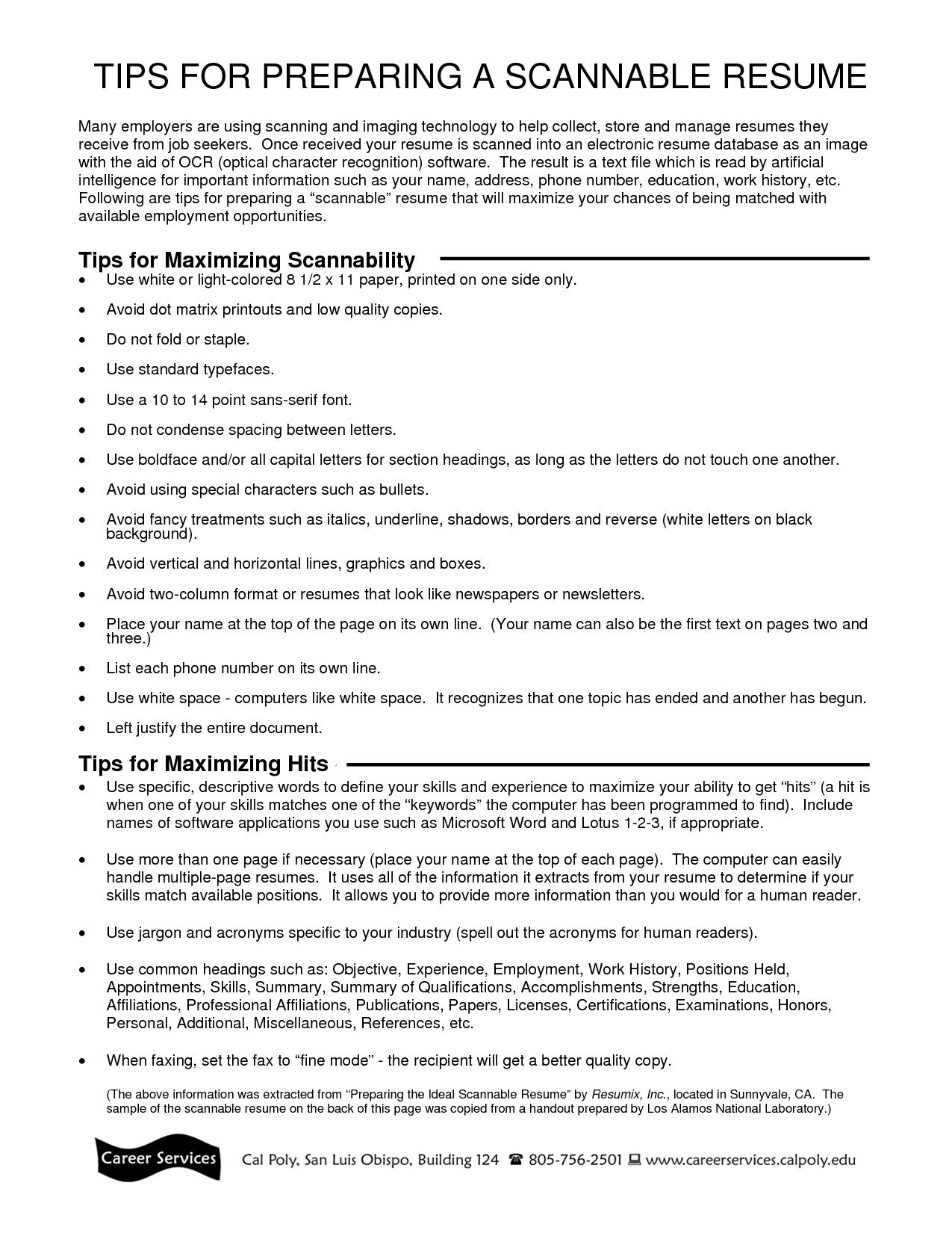 Best Scannable Resume format Resume format