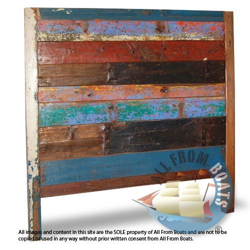A Square Design Header For Your Bed. Made From Original Reclaimed Boat Wood  With Its