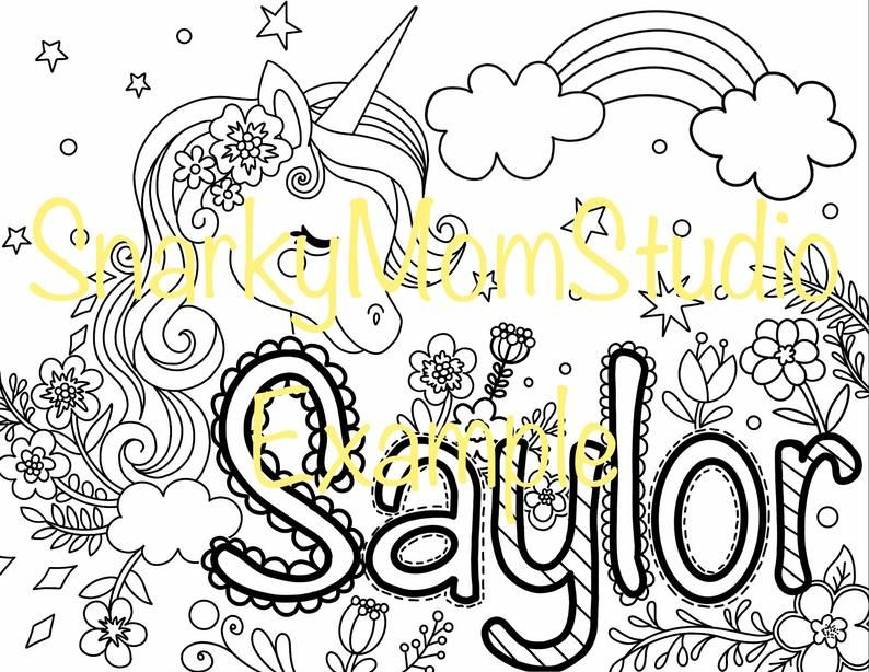Custom Made To Order Name Coloring Sheet For Kids Or Adults Etsy Coloring Sheets For Kids Coloring Sheets Etsy