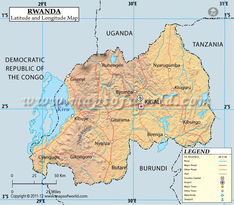 Rwanda Latitude And Longitude Map Maps Pinterest - Latitude map world