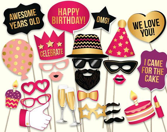 40dfe5661b4b Birthday photo booth props  printable PDF. Pink and gold birthday party  supplies. Instant download.