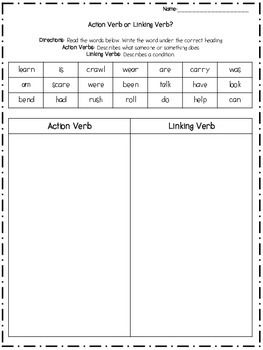 Action And Linking Verb Sort Linking Verbs Verb