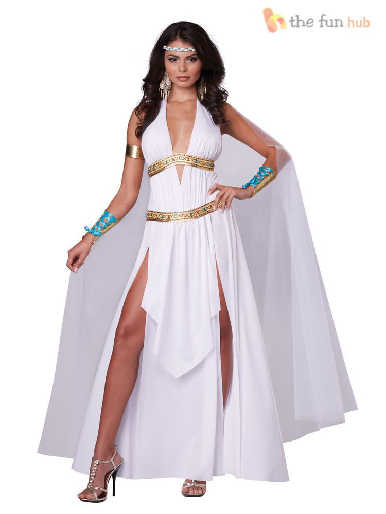 9272aa01f41 Ladies Sexy Greek Roman Goddess Womens Toga Helen Of Troy Costume Fancy  Dress
