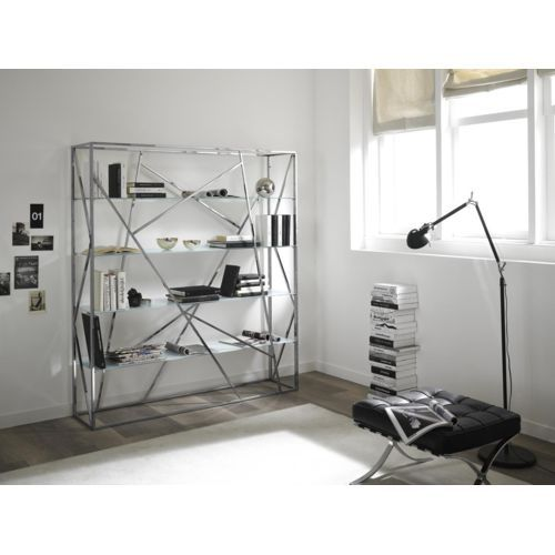 zamagna biblioth que design crossing en m tal chrom. Black Bedroom Furniture Sets. Home Design Ideas