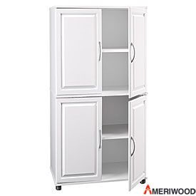 129 99 Ameriwood White 4 Door Storage Cabinet From Big Lots Storage Cabinet Pantry Storage Cabinet Kitchen Pantry Storage