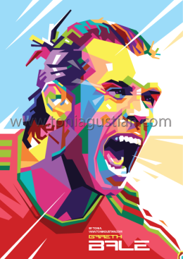 Gareth Bale in colorful vector pop art WPAP by Toni Agustian