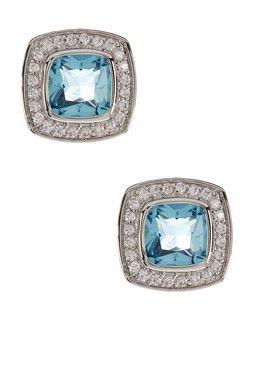 Cushion Shaped Aqua & White Simulated Diamond Earrings
