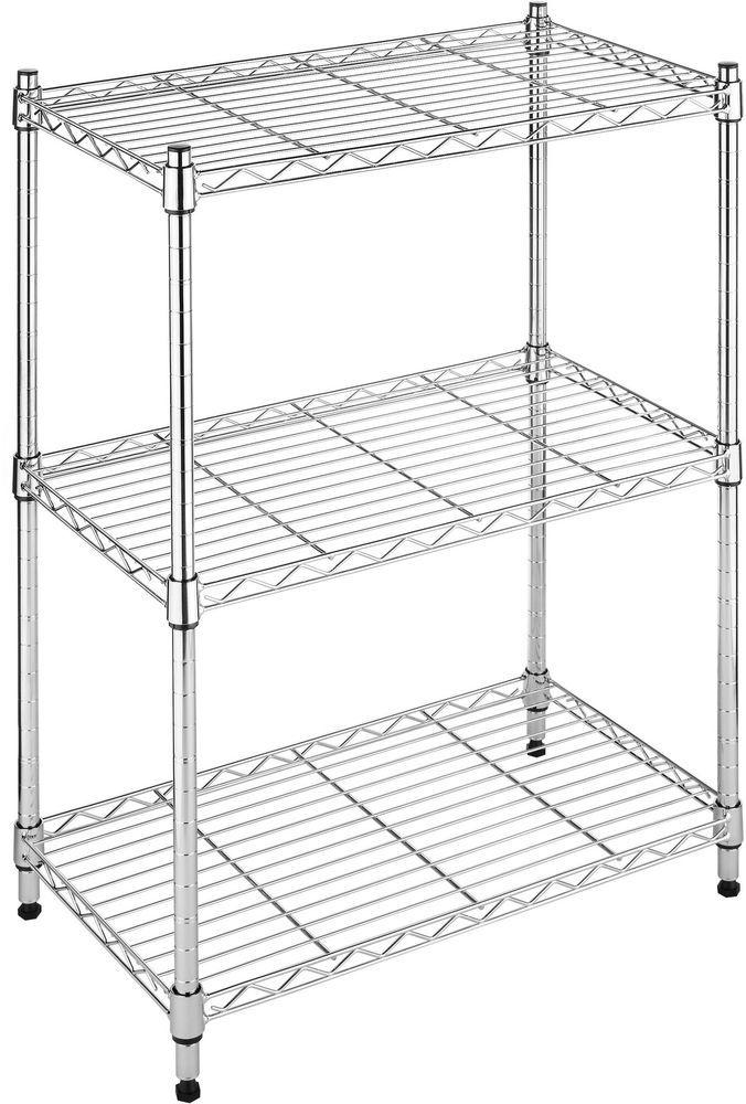 3 Tier Wire Shelving Rack Metal Shelf Adjustable Unit Garage Kitchen ...