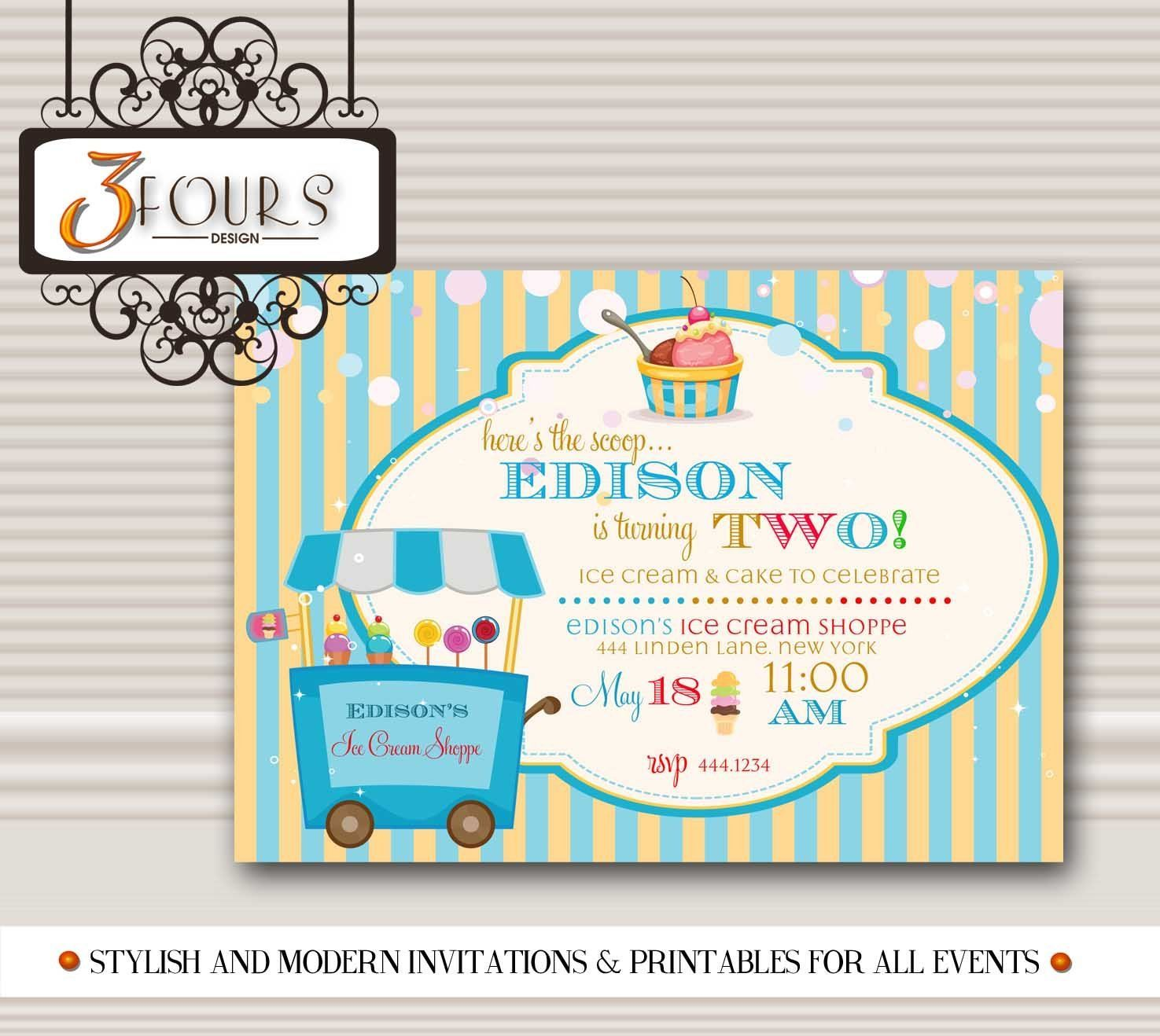 Ice Cream Social Boy Birthday Party Invitations #icecreambirthdayparty Ice Cream Social Boy Birthday Party Invitations #icecreambirthdayparty