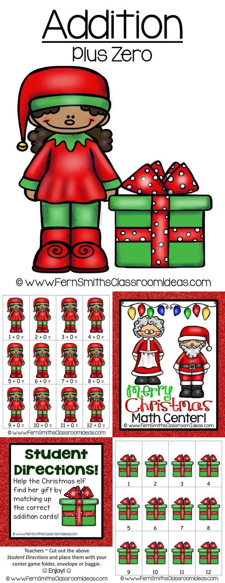 Christmas Math Quick and Easy to Prep Addition Plus Zero