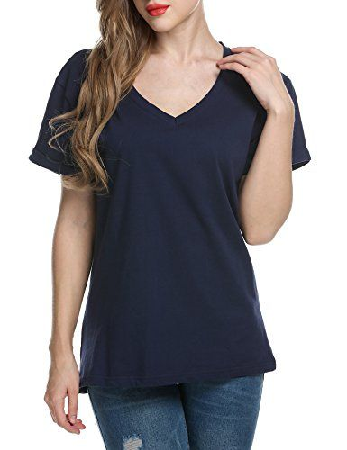 Women/'s Solid Casual Short Sleeve V Neck Cotton Basic Tee Shirt Top Spandex