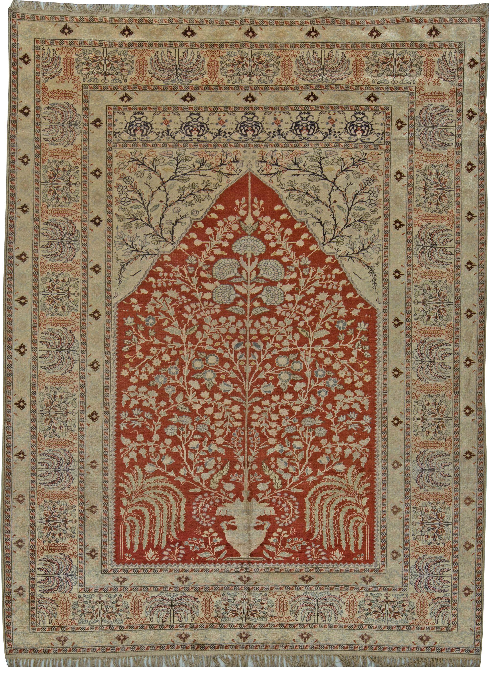 Vintage Turkish Silk Rug Rugs Fabric