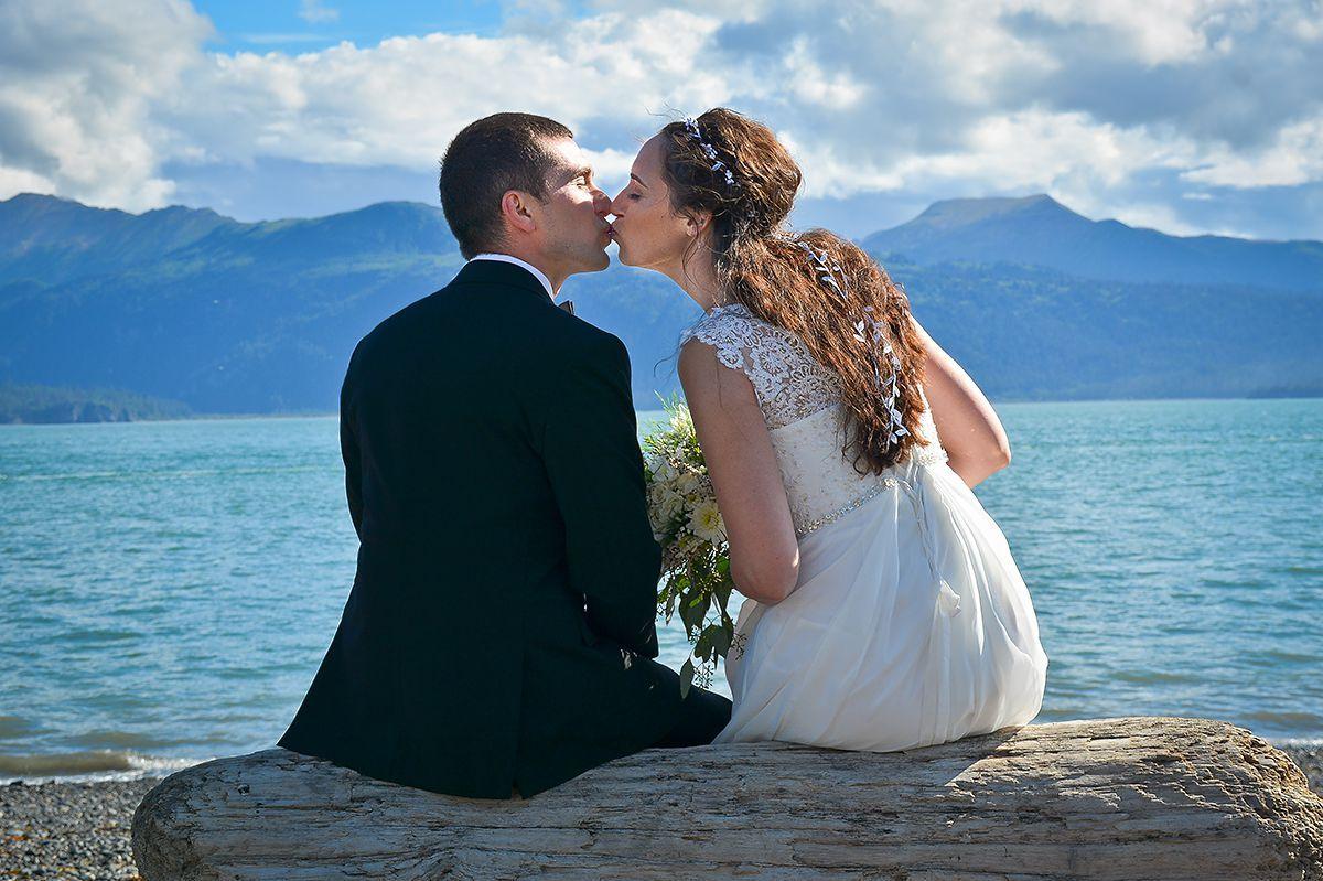 Amy's wedding dress  Ian u Amyus seaside wedding in Homer Alaska summer beach rocks