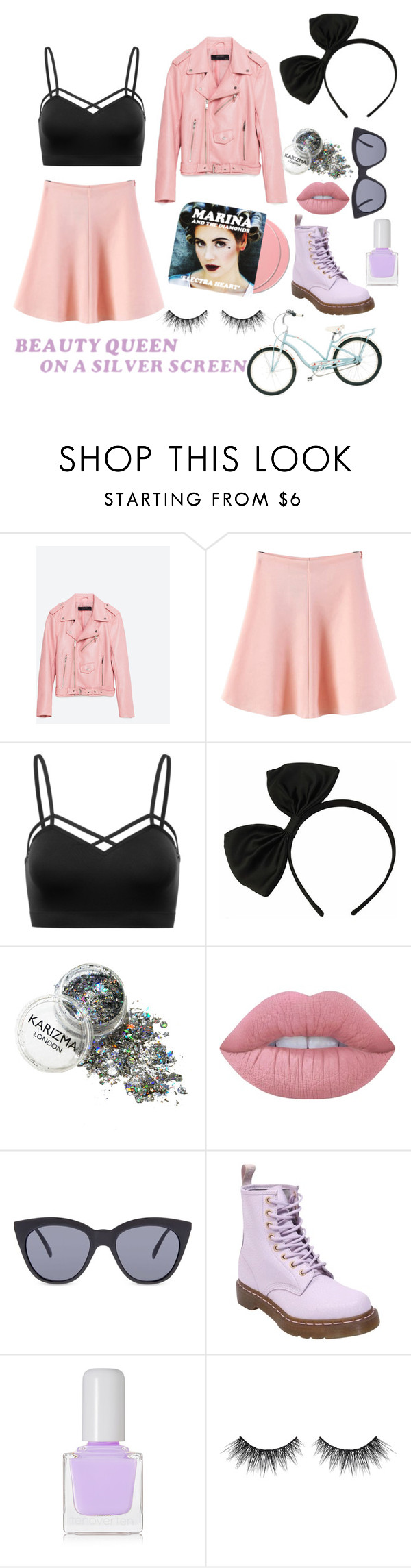 """""""♥Primadonna♥"""" by xpastelpandax ❤ liked on Polyvore featuring Piel Leather, WithChic, Lipsy, Lime Crime, Le Specs, Dr. Martens, tenoverten and Huda Beauty"""