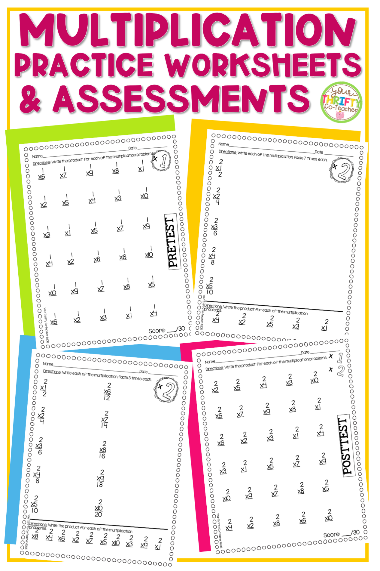 Multiplication Math Facts Drills Practice And Assessments