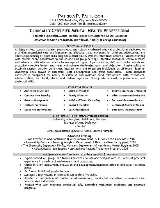 Therapist Counselor Resume Example Pinterest Mental health and - mental health specialist sample resume