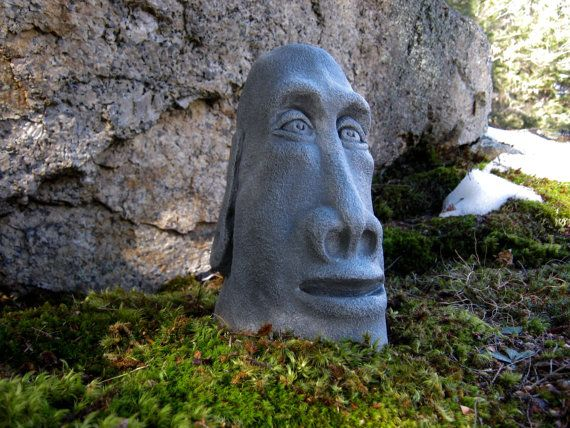 Easter Island Head Concrete Rock Face Moai By Westwindhomegarden