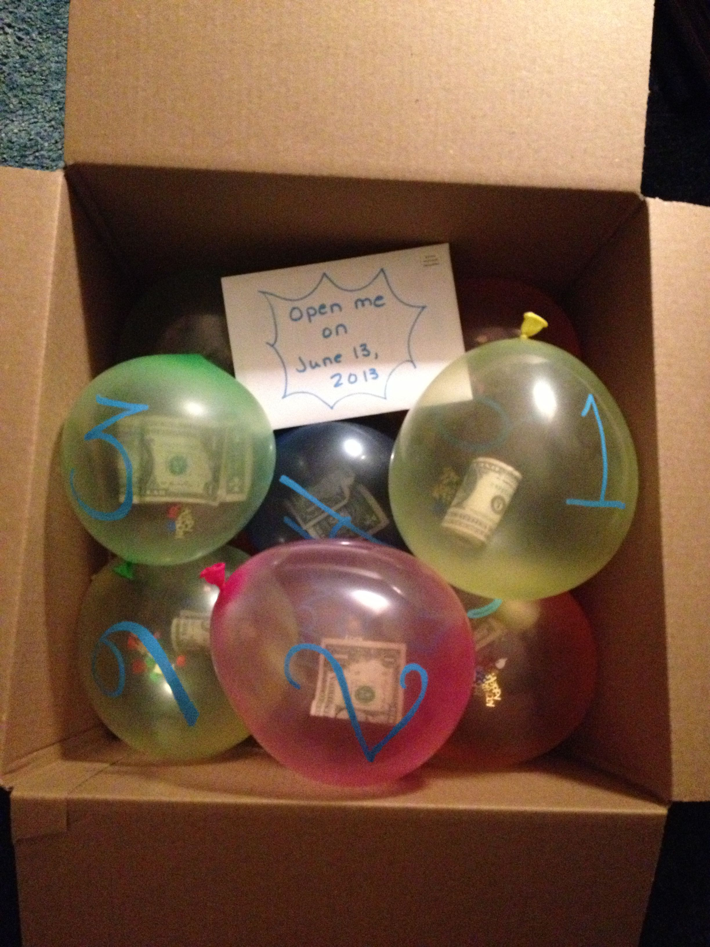 Long Distance Birthday Gift For My 13 Year Old Son He Was Born On The Thirteenth So There Were Balloons All Labeled With A Number