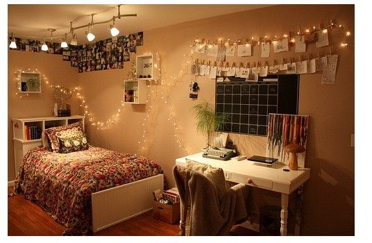 fairy lights around the dorm dorm sweet dorm bedroom room room decor. Black Bedroom Furniture Sets. Home Design Ideas