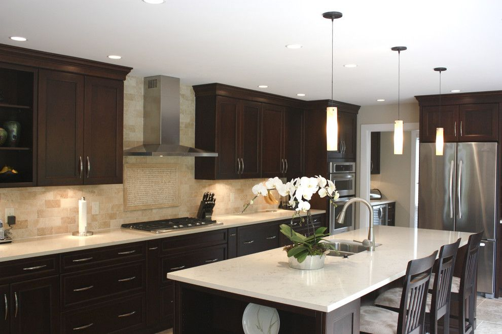 Backsplash Ideas With Dark Cabinets Kitchen Traditional With Cherry Cabinets  Hermosa Stain