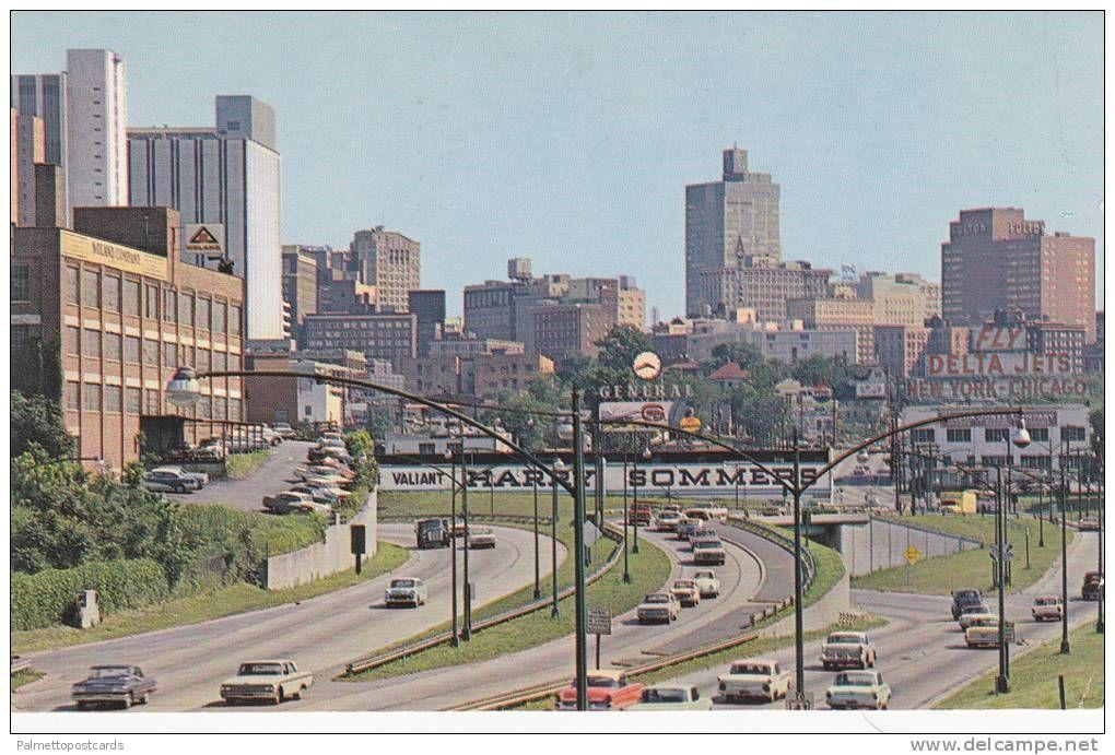 Fly DELTA Billboard, Skyline from North Expressway, Atlanta, Georgia 1964