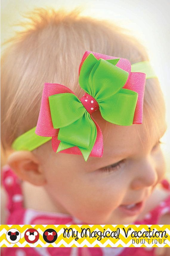 Tinker Bell Boutique Baby Headband Disney Bow by MyMagicalVacation