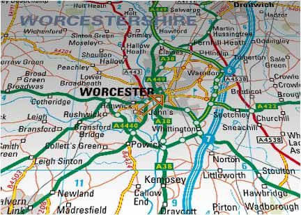 Road map of Worcester England roots in Worcester Pinterest