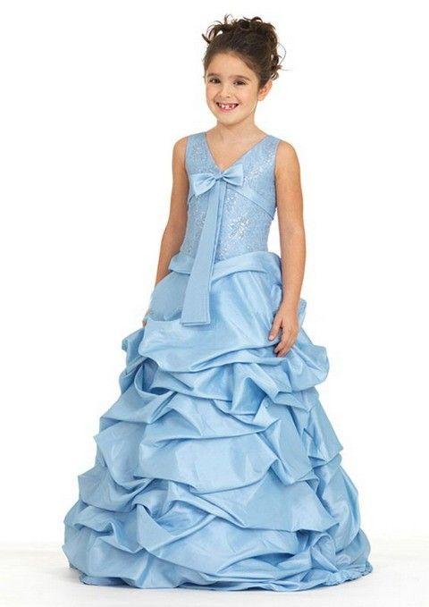 Fashion Bow Earrings Flower Girl Dress in Taffeta | Rose dress ideas ...